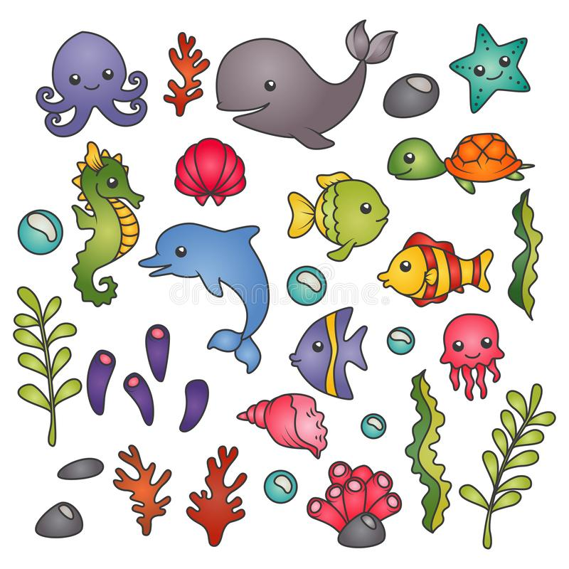 Set of isolated cute marine animals, seaweed and corals. Set of isolated cute marine animals, seaweed, corals and bubbles royalty free illustration