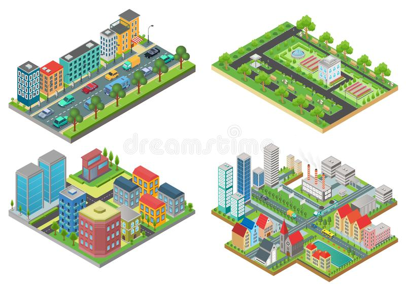 Set of isolated 3d Isometric Realistic cartoon urban City Maps top view vector iullustration. royalty free illustration