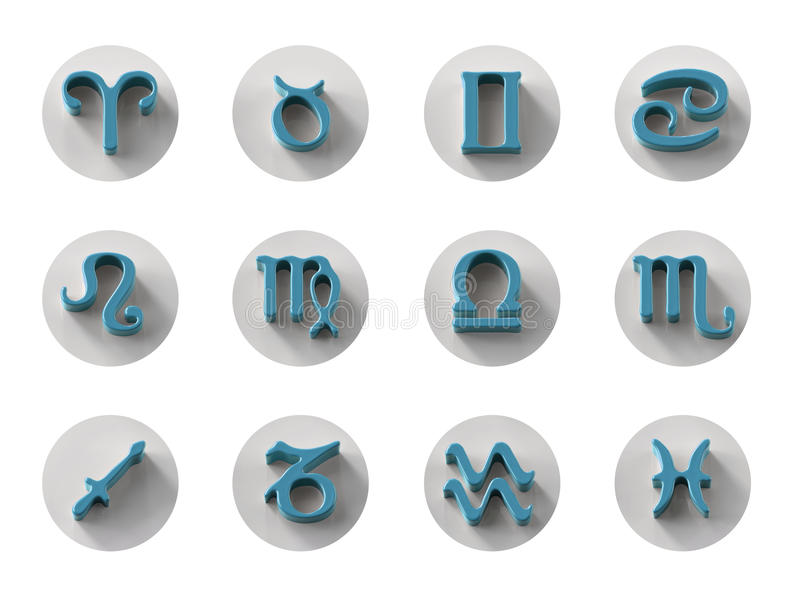 Set of isolated 3D zodiac icons for web and print vector illustration