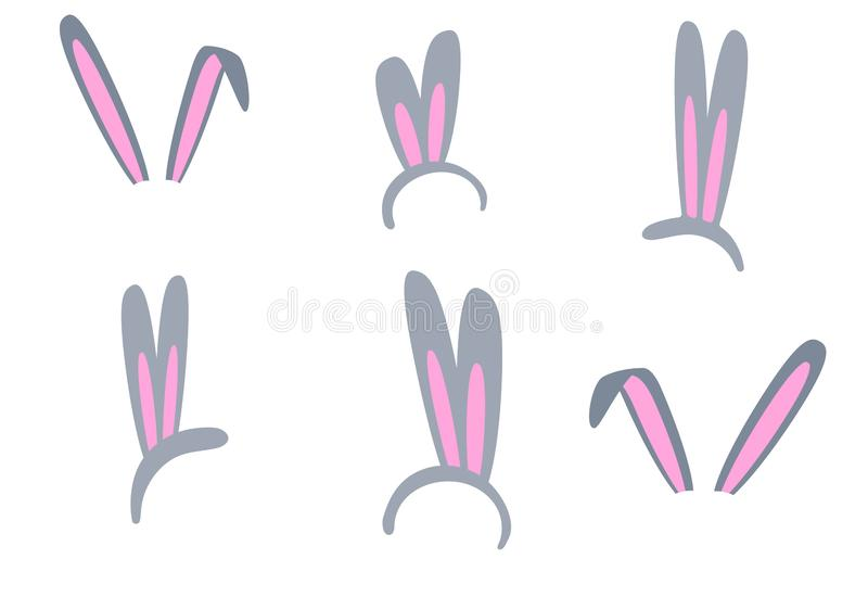 Set of isolated Easter bunny ears on a white background. Pink and gray mask with a rabbit ear. Spring seasonal cute clipart. vector illustration
