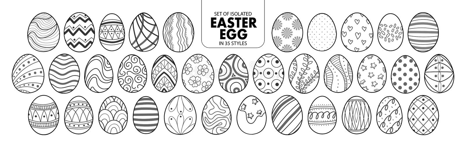 Set of isolated Easter eggs in 35 styles. vector illustration