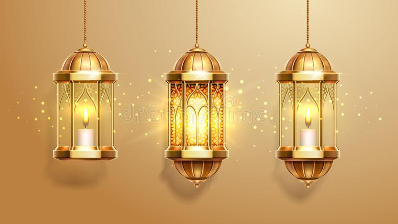 Set of isolated eastern lanterns or fanous, fanoos. Set of isolated eastern lanterns. Arab fanous or vintage fanoos, antique glowing lamp with candle or hanging vector illustration