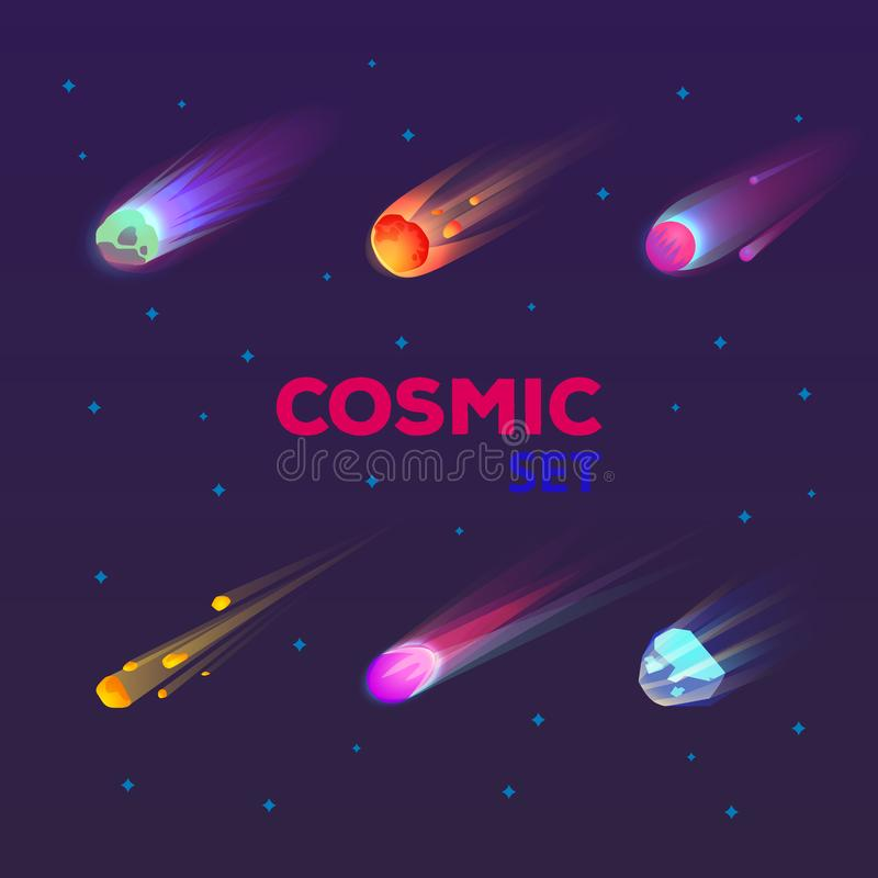 Set of isolated falling comet or burning star. Flame asteroid or meteor burst with tail, trail, meteorite in space or meteoroid flare, cosmos stone. Universe stock illustration
