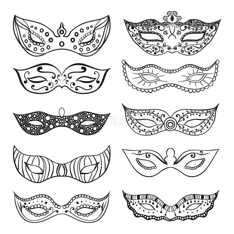 Set of isolated festive black hand drawn mask silhouette on the white background. Mardi Gras masks. vector illustration