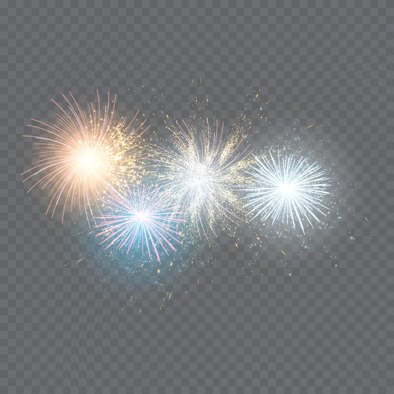 Set of isolated fireworks on a transparent stock illustration