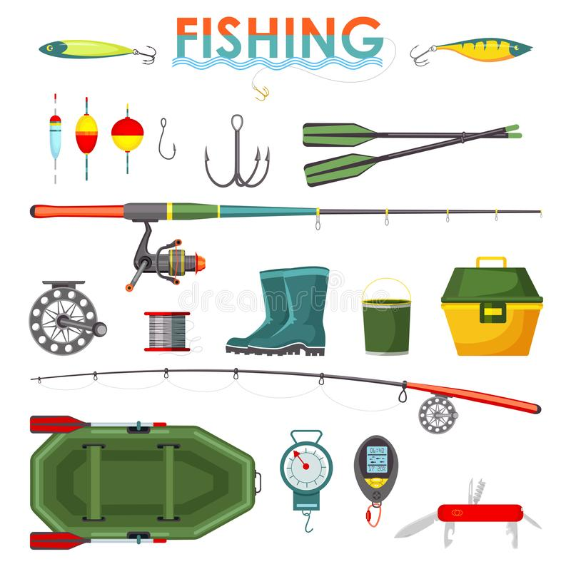 Set of isolated fishing items or equipment, rod. Set of isolated fisherman items or equipment, accessory icons. Fish tackle and hook, rod and float, lure and vector illustration