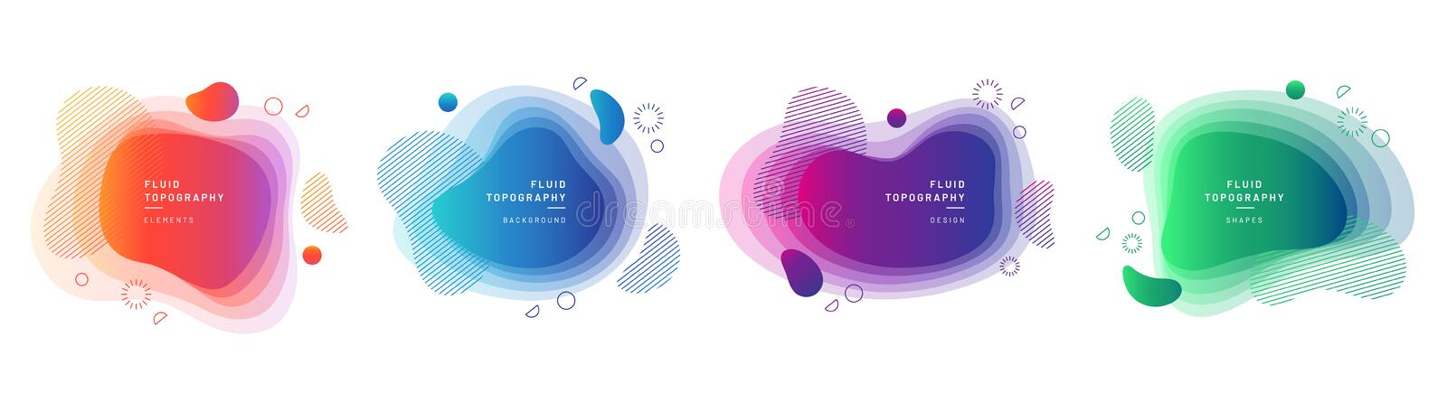 Set of isolated fluid blobs with gradient color. Set of modern graphic design elements in shape of fluid blobs. Isolated liquid stain topography. Gradient of stock illustration