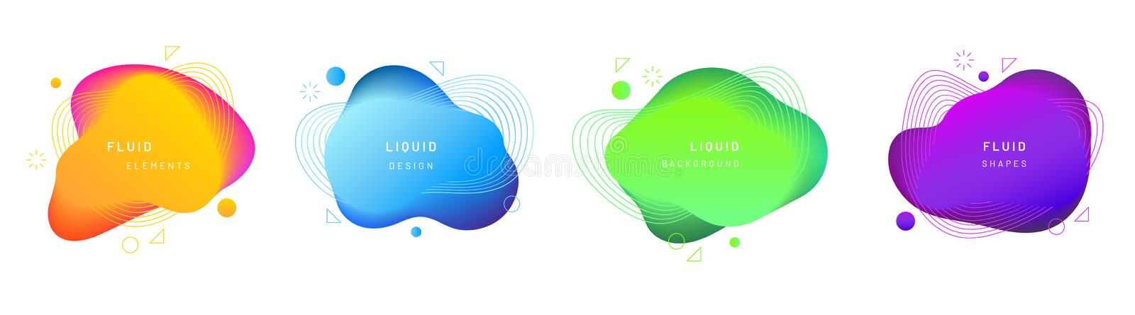 Set of isolated fluid or liquid gradient blobs. Set of isolated bright yellow, gradient blue, green and violet fluid blobs. Abstract geometric liquid stain or vector illustration