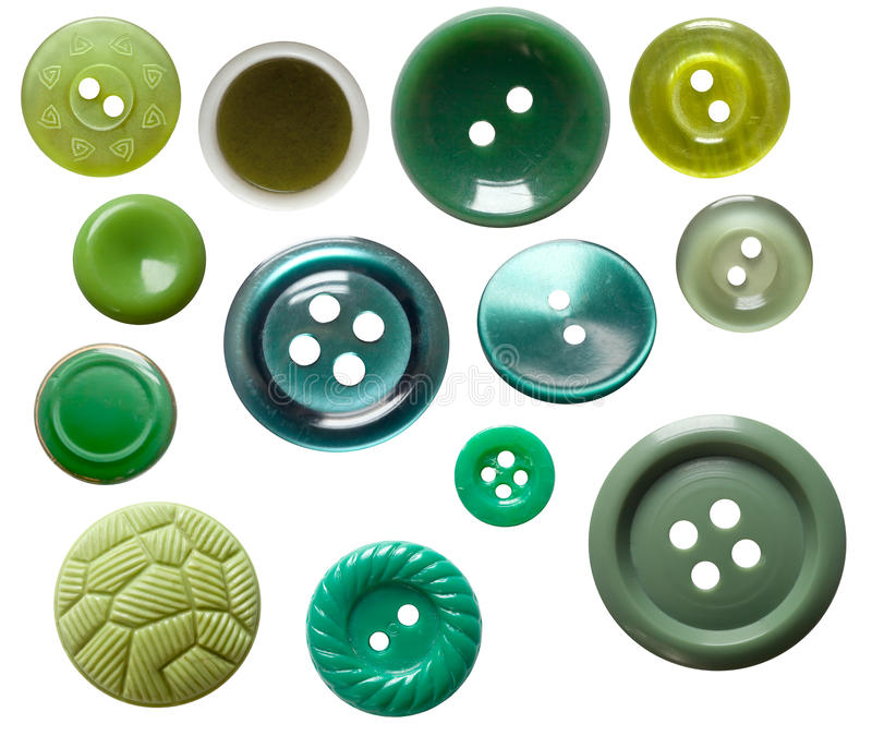 Set of isolated green buttons. Set of isolated green and blue buttons stock photos