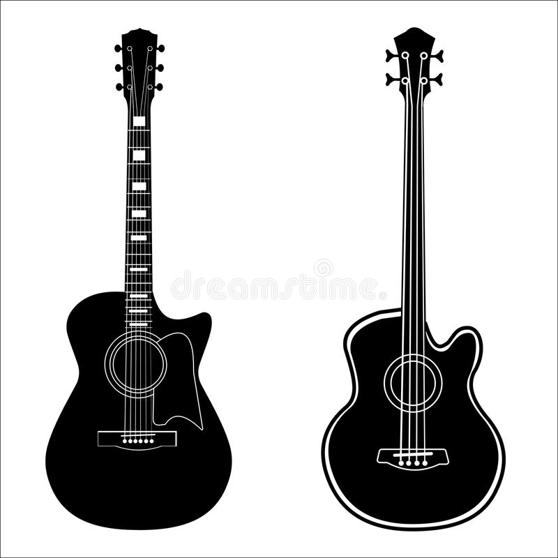 Set of isolated guitars vector illustration