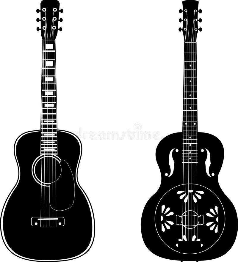 Set of isolated guitars royalty free illustration
