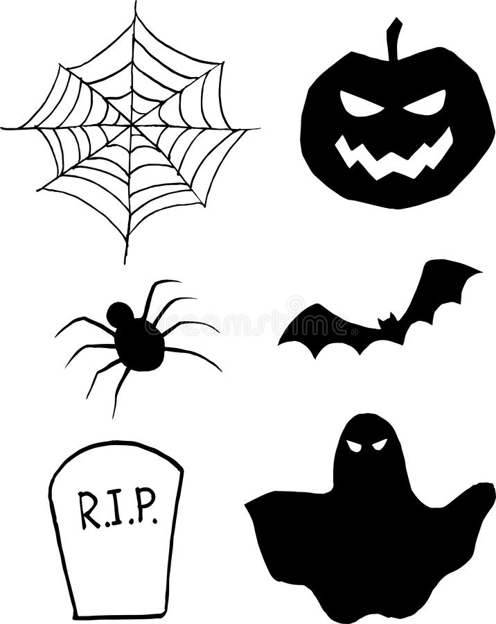 Halloween items in simple style. A set of isolated halloween items in a simple style in black color. Vector cobweb, bat, pumpkin, ghost, tombstone and spider stock illustration