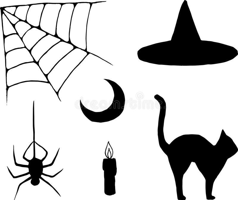 Halloween items in simple style. A set of isolated halloween items in a simple style in black color. Vector cobweb, spider, witch hat, moon, candle and a cat stock illustration