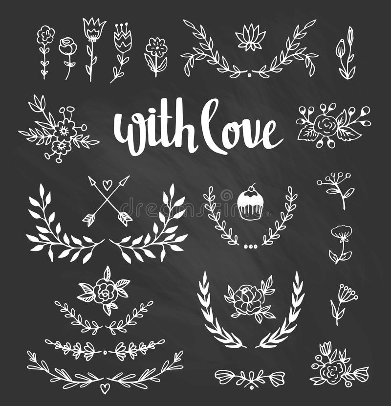 Set isolated hand drawn design elements with stylish lettering with love. Chalkboard set with laurels, wreaths, arrows. Leaves and heart for Wedding, marriage stock illustration