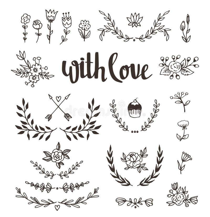 Set isolated hand drawn design elements with stylish lettering with love. Wedding, marriage, save the date, Valentine& royalty free illustration