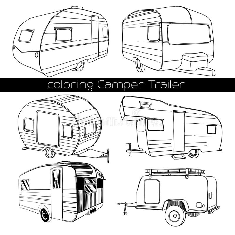 Set isolated Hand Drawn, doodle Camper trailer, car Recreation transport, Vehicles Camp Vans Caravans Lines Icons. Motor royalty free stock photos