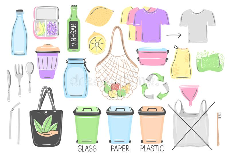 Set of isolated hand drawn zero waste objects. Eco lifestyle. Save planet. Care of nature. Vegan. No plastic. Go green. Refuse, reduce, reuse, recycle, rot vector illustration