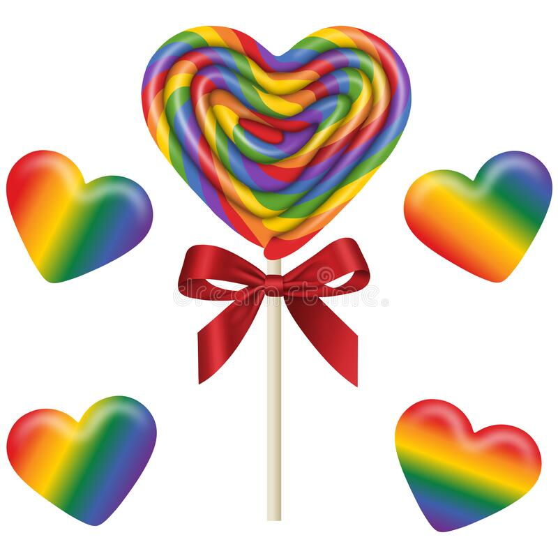 Free Set Isolated Heart Shaped Lollipop And Gummy Candies With The Colors Of The Rainbow Stock Images - 169212614