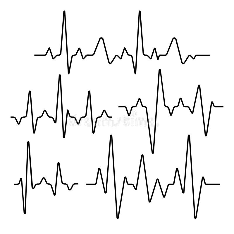 Set of isolated heartbeat lines. Seismic sinusoidal signs illustration vector illustration