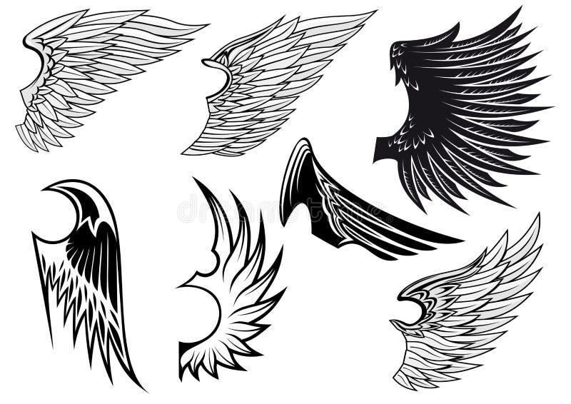Set Of Isolated Heraldic Wings Stock Photos