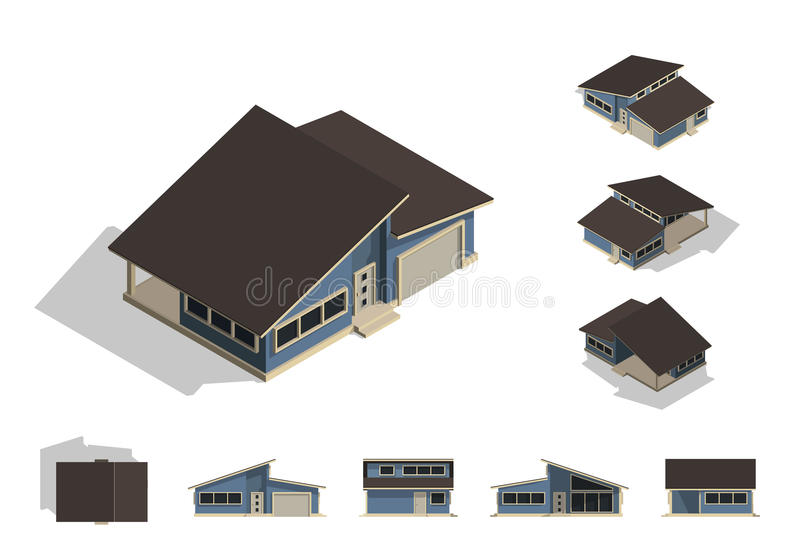 Set of isolated house building kit creation, detailed urban and rural house concept design in top, side, front, and back elevation vector illustration
