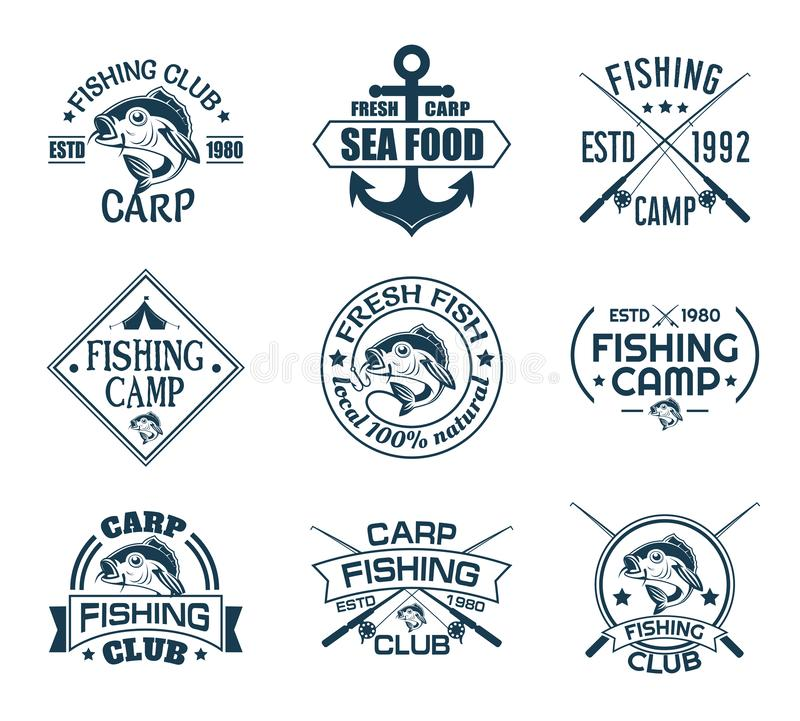 Set of isolated icons with fish for fisherman club royalty free illustration