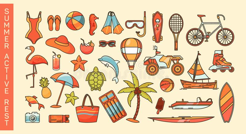 Set of summer activity or sea vacation icons royalty free illustration