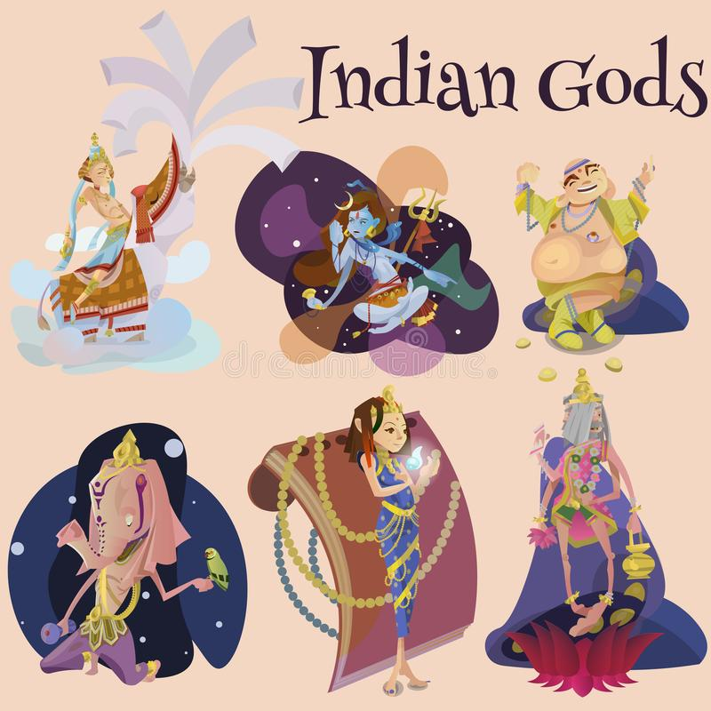 Set of isolated Indian Gods meditation in yoga poses lotus and Goddess hinduism religion, traditional asian culture. Spiritual mythology, deity worship festival royalty free illustration