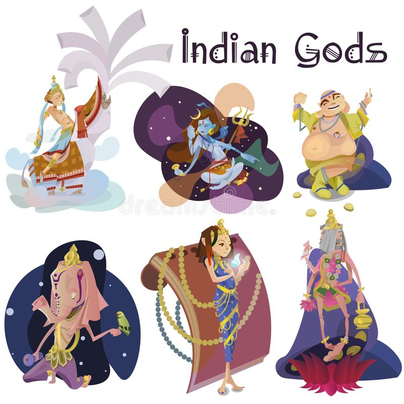 Set of isolated Indian Gods meditation in yoga poses lotus and Goddess hinduism religion, traditional asian culture. Spiritual mythology, deity worship festival vector illustration