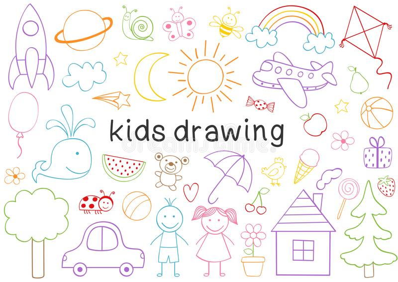 set of isolated kids drawing stock illustration