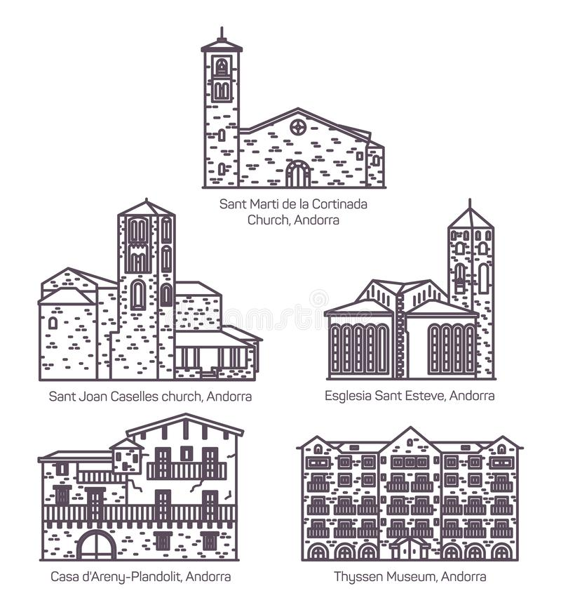 Set of isolated line Andorra church and castle. Set of isolated Andorra castle building. Saint Joan Caselles church in thin line, Esglesia Sant Esteve, Noblesse stock illustration