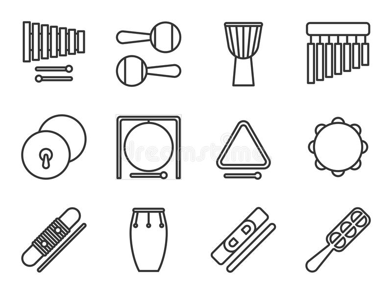 Set of isolated line icon. Percussion musical instrument. Black outline collection. Xylophone, maracas, djembe, chimes, cymbals, g. Ong, triangle tambourine vector illustration