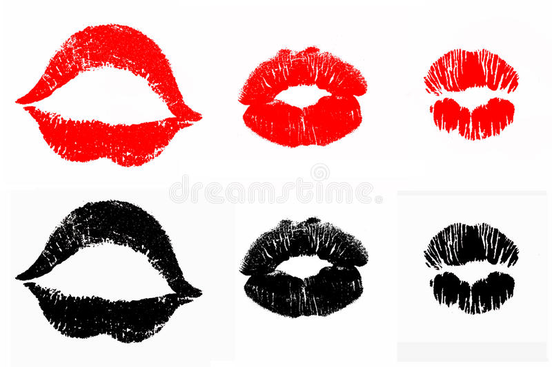Lip print lipstick kiss. This is a set of isolated lip print lipstick kisses in red and black color royalty free stock photo