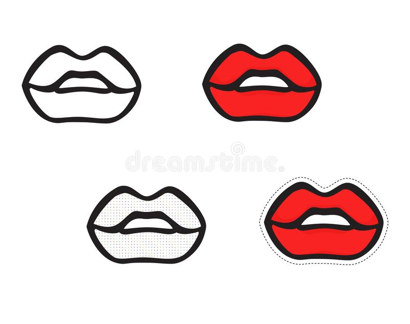 Set of isolated lips icons. Vector hand drawing on white background. Set of isolated lips icons. Vector hand drawing isolated on white background royalty free illustration
