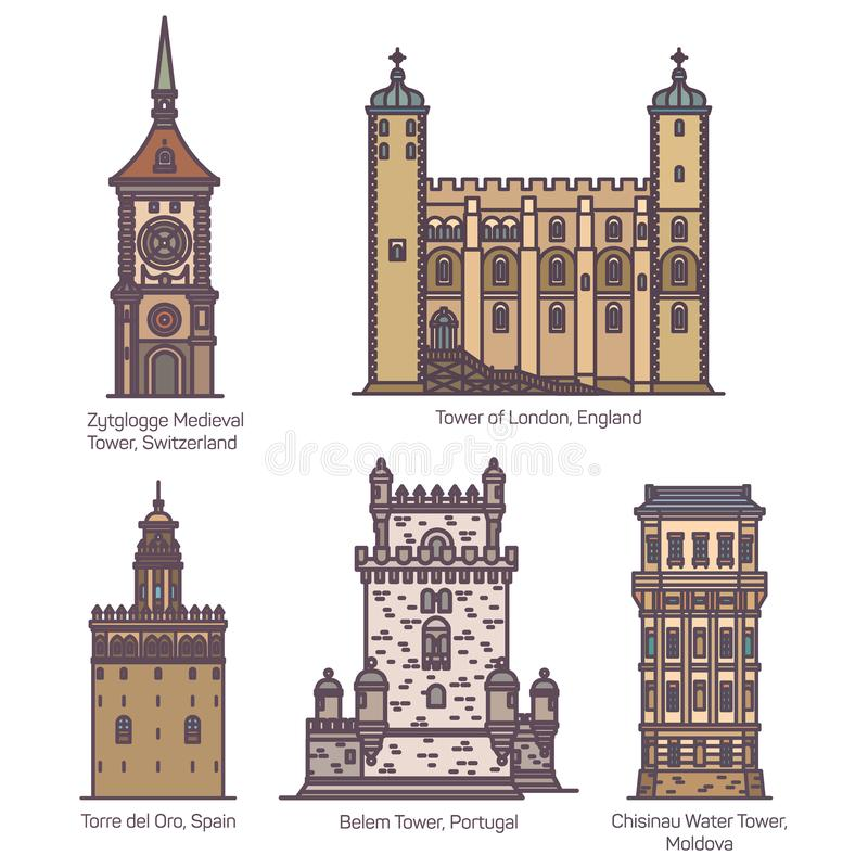 Set of isolated medieval towers of Europe. Set of isolated towers of Switzerland and Spain, England or UK, Portugal and Moldova. Zytglogge medieval and London stock illustration