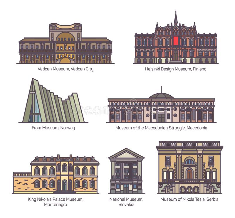 Set of isolated museums of Europe in color. Culture buildings of Europe. Museum of Macedonian Struggle, Helsinki design, Nikola Tesla, Slovakia National, Palace vector illustration
