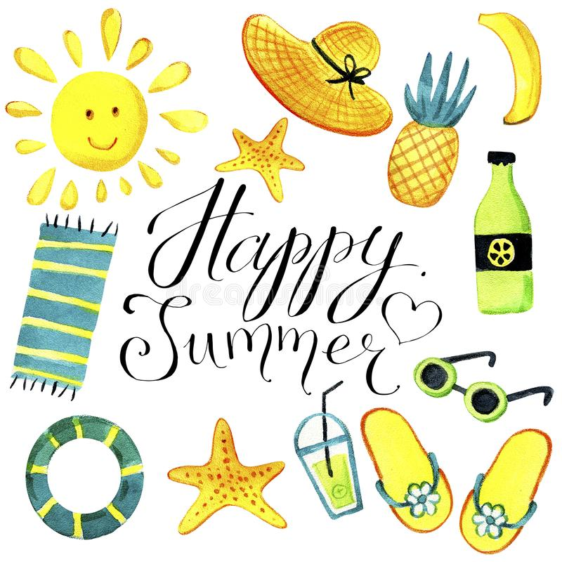 A set of isolated objects of summer theme watercolor. vector illustration