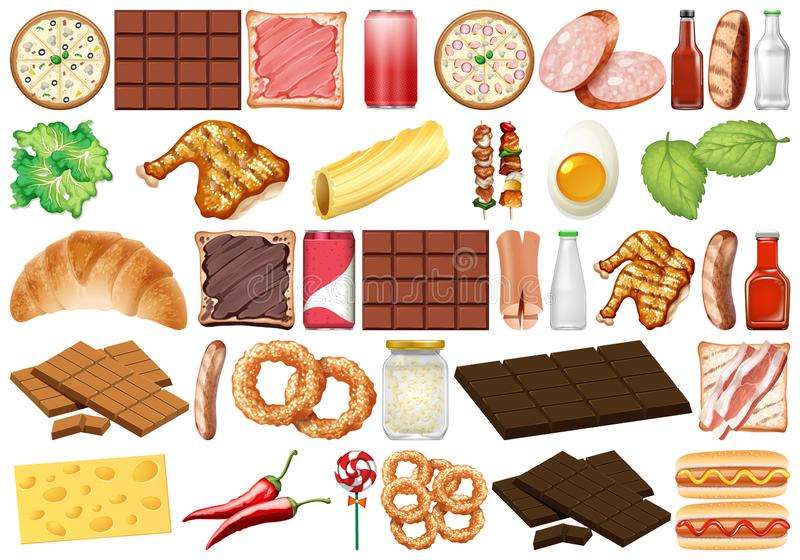 Set of isolated objects theme - desserts and food. Illustration royalty free illustration