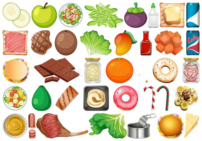 Set of isolated objects theme - fresh vegetables and desserts. Illustration stock illustration
