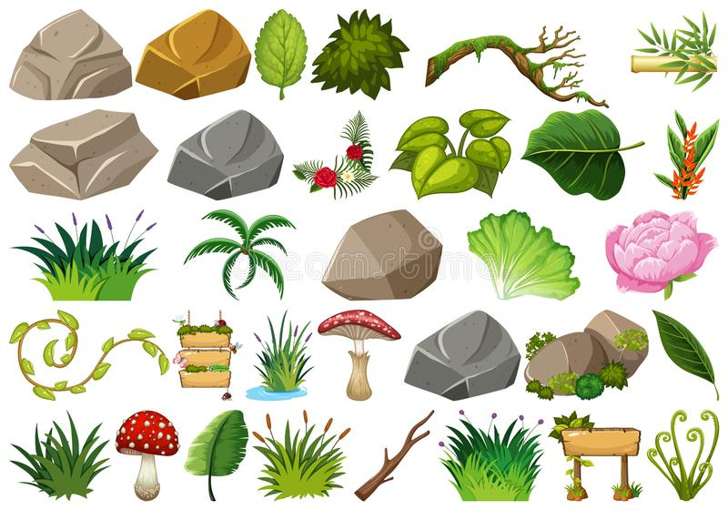 Set of isolated objects theme - rocks and plants. Illustration vector illustration