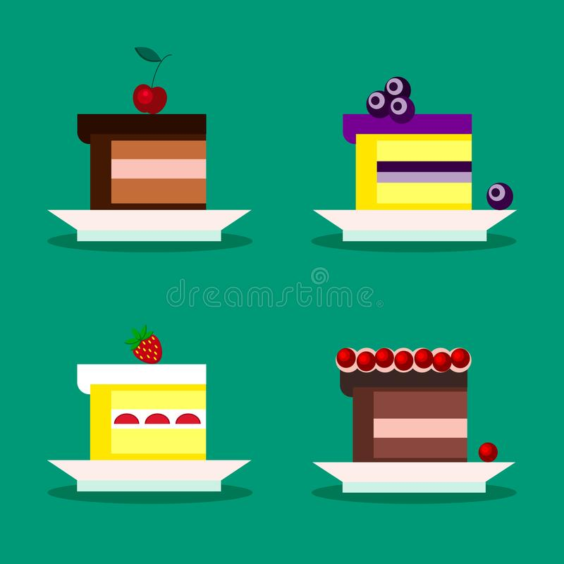 Set of isolated pieces of cake with cherry, blueberries, strawberries, cranberries on a white plate in cartoon flat style vector illustration