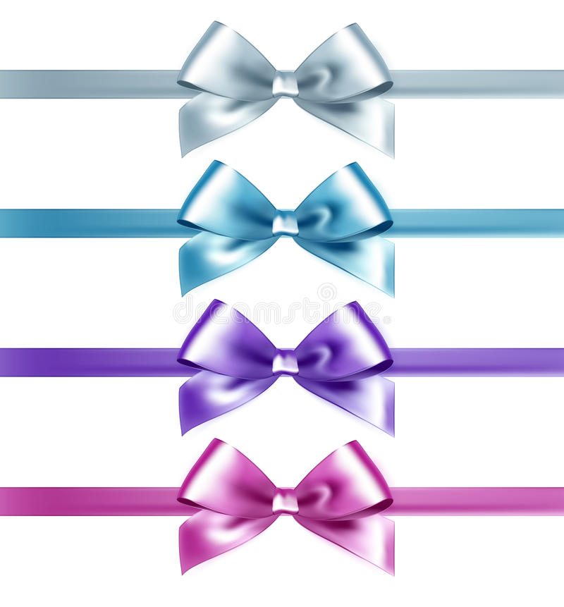 Set of isolated pink, white and blue photorealistic silk bows. For your holiday design stock illustration