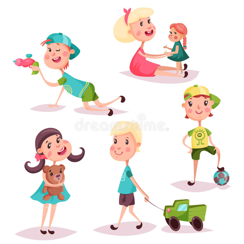 Set of isolated playing kids or children. Boys and girls, cartoon children or kids playing with alien laser gun and doll, holding air balloon and fluffy teddy royalty free illustration