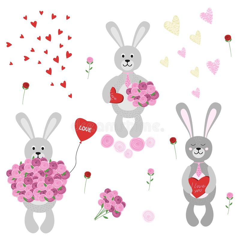 Set of isolated rabbits in love with flowers, balloon and chocolates. royalty free illustration