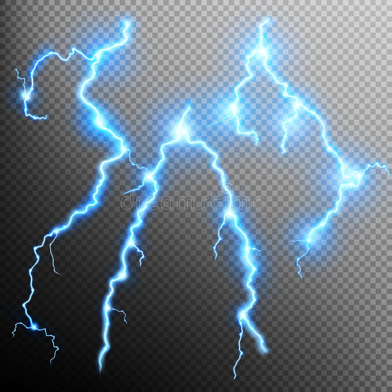 Set of isolated realistic lightnings. EPS 10 stock illustration