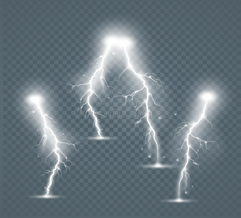 Set of the isolated realistic lightnings with transparency for design. royalty free illustration