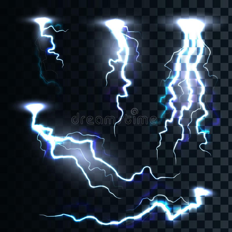 Set isolated realistic lightnings with transparency for design vector illustration
