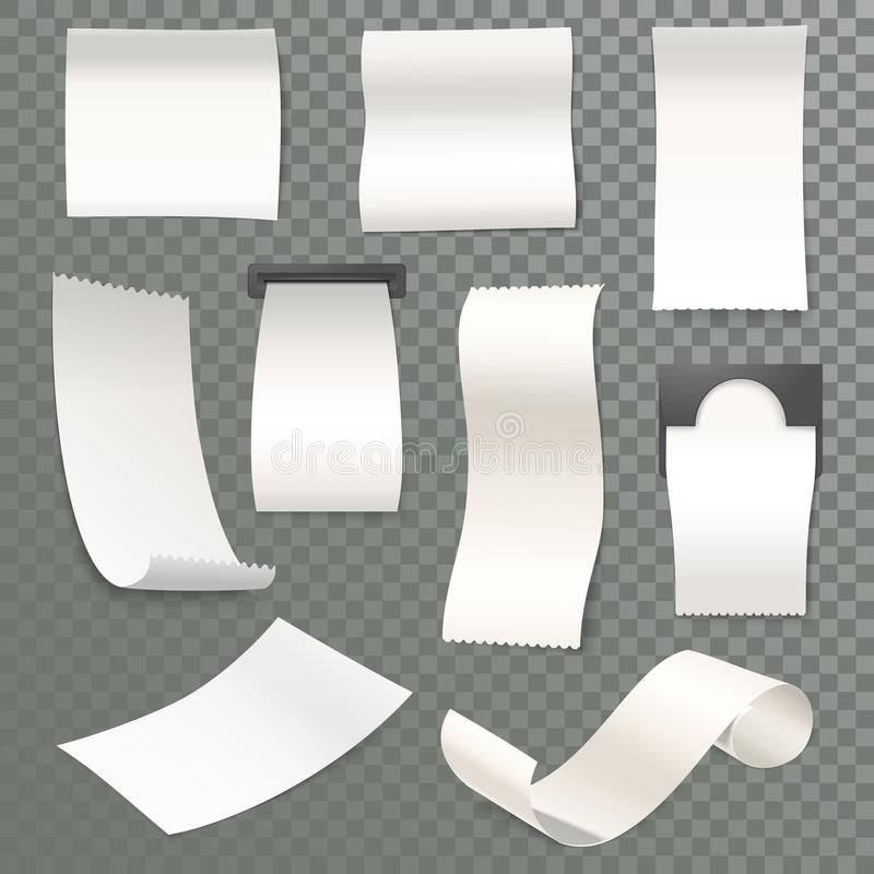 3d receipt rolled thermal paper for cash machine vector illustration