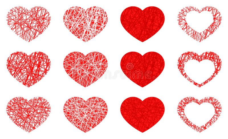 Set of isolated red heart icon, love symbol collection on white background vector illustration