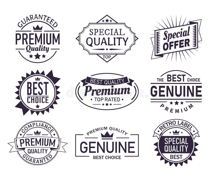 Set of isolated retro brand logo, product sign vector illustration